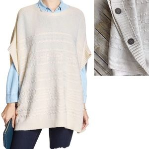 Ivory Cable Knit Poncho Sweater